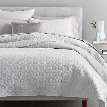 Flannel Solid Coverlet, Full/Queen, Frost Gray - West Elm