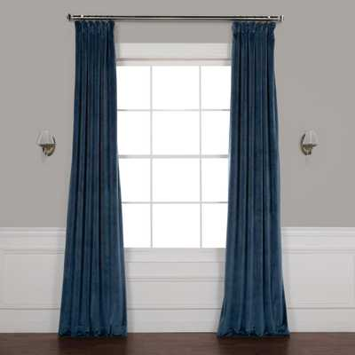 Exclusive Fabrics & Furnishings Avalon Blue Plush Velvet Curtain - 50 in. W x 96 in. L - Home Depot