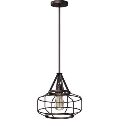 Volume Lighting 1-Light Indoor Antique Bronze Industrial-Inspired Downrod Pendant with Cage / Wire - Home Depot