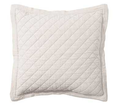 Belgian Linen Diamond Quilted Sham, Euro, Flax - Pottery Barn