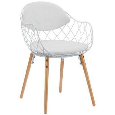 White Basket Dining Metal Armchair, White White - Home Depot