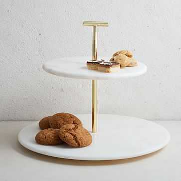 Marble + Brass 2-Tier Cake Stand - West Elm