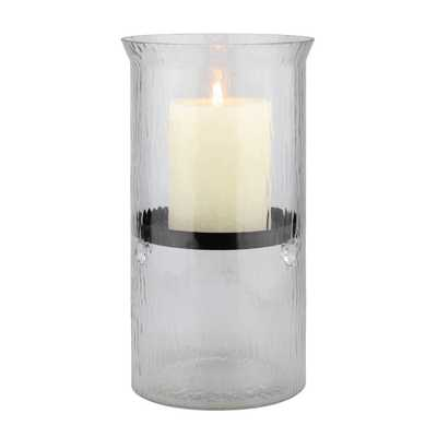 10 in. H Glass Hammered Hurricane Candle Holder with Gunmetal Tray, Clear - Home Depot