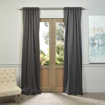 Exclusive Fabrics & Furnishings Semi-Opaque Anthracite Grey Blackout Curtain - 50 in. W x 84 in. L (Panel) - Home Depot