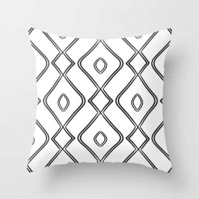 "Modern Boho Ogee in Black and White Throw Pillow - Outdoor Cover (18"" x 18"") with pillow insert by Beckybailey1 - Society6"