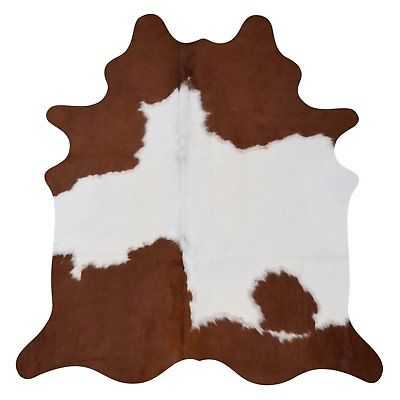 Real Brown and White Cowhide Rug (7' x 6') - eBay