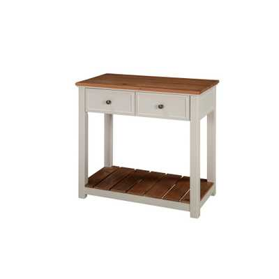 Savannah Ivory with Natural Wood Top 30 in. Wide 2-Drawer Console Table - Home Depot