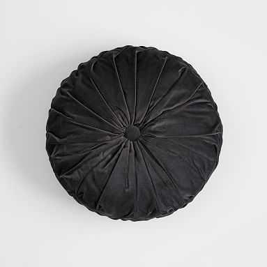 "Velvet Pleated Round Pillow, 14"" round, Vintage Ebony - Pottery Barn Teen"