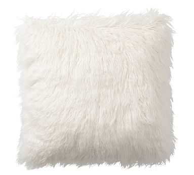 "Mongolian Faux Fur Pillow Cover, 18"", Ivory - Pottery Barn"