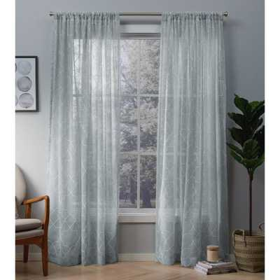 Amalgamated Textiles Cali Melrose Blue Embroidered Sheer Rod Pocket Top Window Curtain - Home Depot