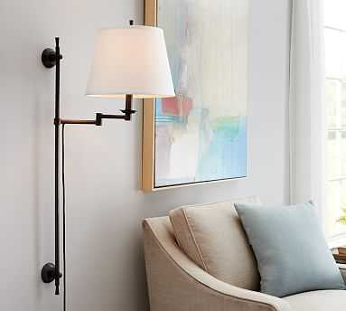 Elise Adjustable Linear Sconce With Ivory Linen Shade, Set of 2 - Pottery Barn
