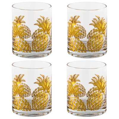 Gold Pineapple Double Old Fashioned Glasses (Set of 4 ) - Home Depot