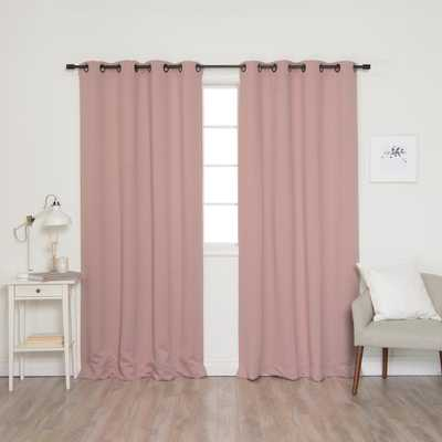 Best Home Fashion 84 in. L Onyx Grommet Blackout Curtains in Dusty Pink (2-Pack), Dusty Pink Panel Black Grommet - Home Depot
