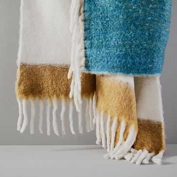 Color Block Soft Touch Throw, Stone White - West Elm
