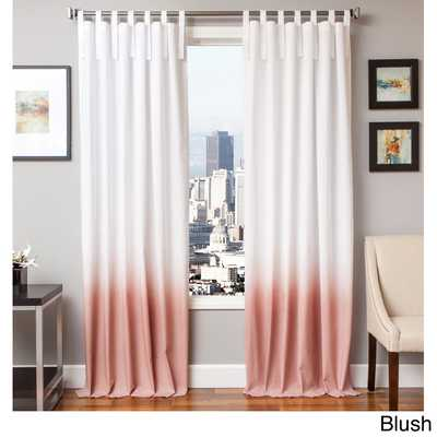 Softline Tie Tab Ombre Cotton and Linen Curtain Panel: 96 Inches - Pink - eBay