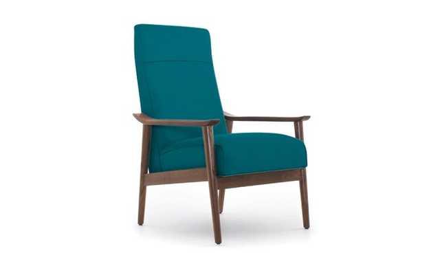 Blue McKinley Mid Century Modern Chair - Lucky Turquoise - Walnut - Joybird