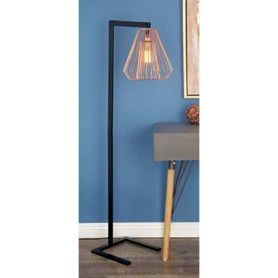 55 in. Modern Iron Wire Diamond Floor Lamp in Rose Gold - Home Depot