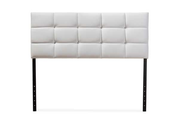 Baxton Studio Bordeaux Modern and Contemporary White Faux Leather Queen Size Headboard - Lark Interiors