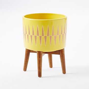 Turned Wood Leg Standing Planter, Wide, Yellow - West Elm