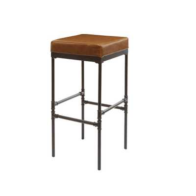 Silverwood Powell 29 in. Distressed Brown Pipe Fitting Upholstered Barstool - Home Depot