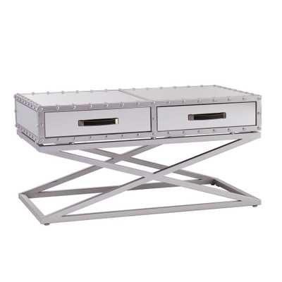 Harry Silver Coffee Table, Silver Mirror Finish With Matte Silver Trim - Home Depot