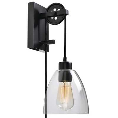 Manor Brook Pulley 1-Light Oil Rubbed Bronze Plug-in Wall Sconce - Home Depot