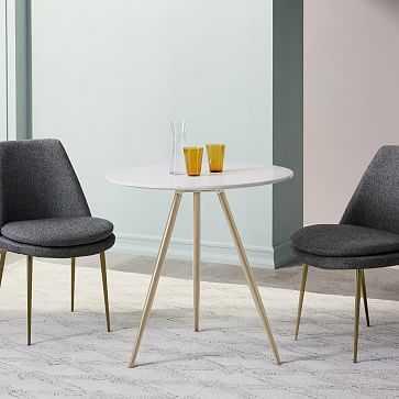 "Wren Bistro Table 30"", White Quartz Composite, Light Bronze - West Elm"