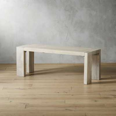 "Blox White Wash Bench 50"" - CB2"