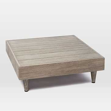 Portside Low Slab Coffee Table, Weathered Gray - West Elm