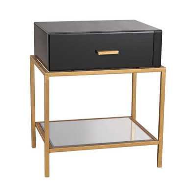 Evans Black and Gold Leaf Storage Side Table, Black Glass/Gold Leaf - Home Depot