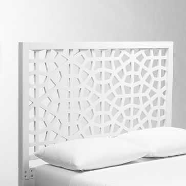 Morocco Headboard, Queen, White Lacquer - West Elm