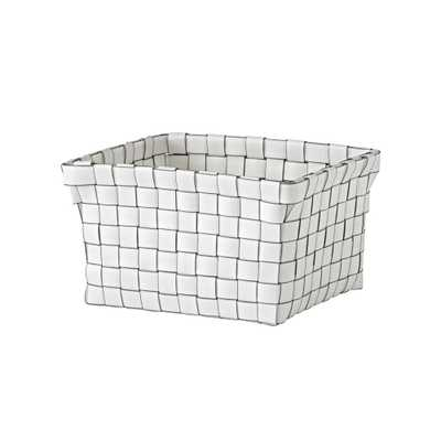 Strapping Woven White Shelf Basket - Crate and Barrel