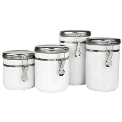 4-Piece Canister Set with Stainless Steel Tops, White - Home Depot