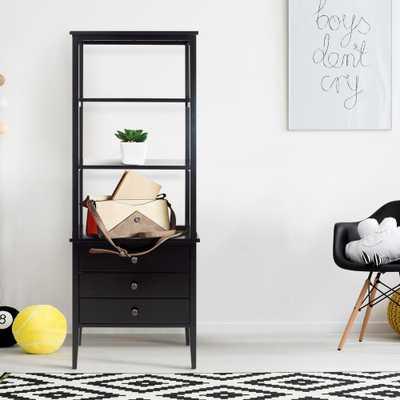 Edison Black 3-Shelf Bookcase - Home Depot