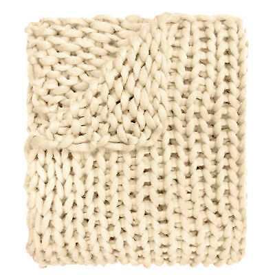 Gracie Oaks Charest Chunky Knitted Acrylic Throw: Cream - eBay