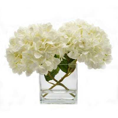 Faux White Hydrangea in Glass Vase - Birch Lane