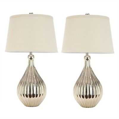 Safavieh Grace Table Lamps and Cream Shade in Champagne (Set of 2) - eBay