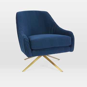 Roar + Rabbit Chair, Performance Velvet, Ink Blue, Antique Brass-Individual - West Elm