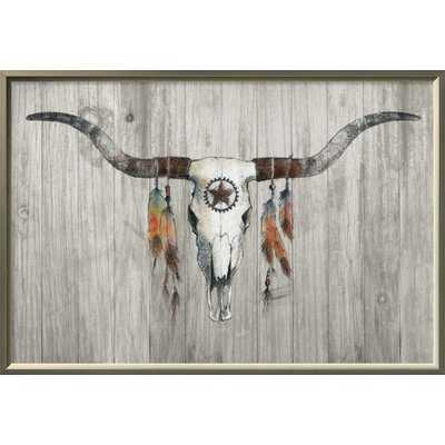 Longhorn on Wood Framed Graphic Art Print on Canvas - Wayfair