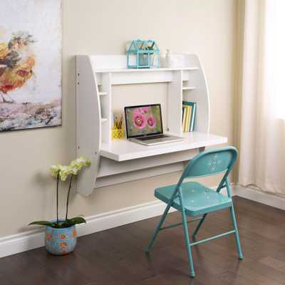 White Desk with Shelves - Home Depot