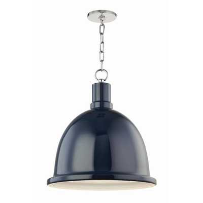 Mitzi by Hudson Valley Lighting Blair 1-Light 16 in. W Polished Nickel Pendant with Navy Metal Shade - Home Depot