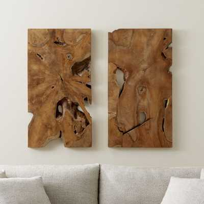 Slice Teak Wall Art Set of Two - Crate and Barrel