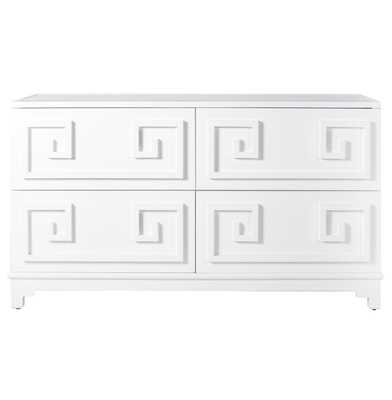 Lucio Hollywood Regency Greek White Lacquer Mirror Dresser - Kathy Kuo Home