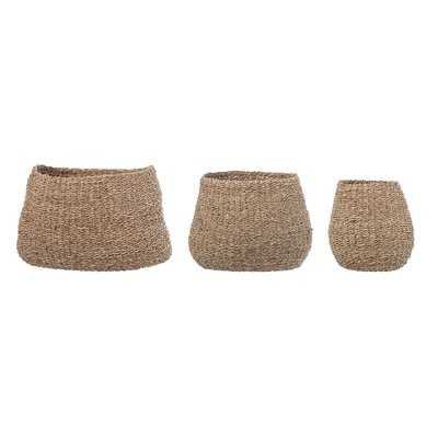 Natural Seagrass Wicker 3 Piece Basket Set - Birch Lane