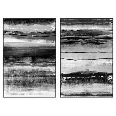 Black and White Strokes 2 Piece Framed Graphic Art Set - Wayfair