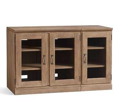 Printer's Medium Glass Cabinet Media Stand (1 Glass Door Ped, 1 Double Glass Door Pedestal, 1 SingleTop, 1 Double Top), Seadrift - Pottery Barn