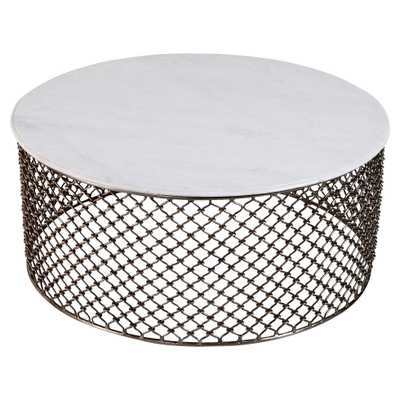 Sigrid Global White Marble Iron Coffee Table - Kathy Kuo Home
