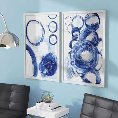 'Painted Circles Diptych' 2 Piece Framed Acrylic Painting Print Set - Wayfair