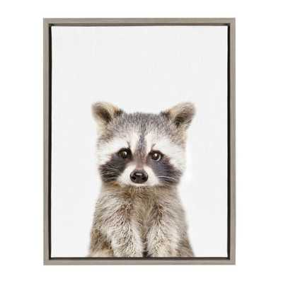"Sylvie ""Animal Studio Raccoon"" by Amy Peterson Framed Canvas Wall Art, Gray - Home Depot"