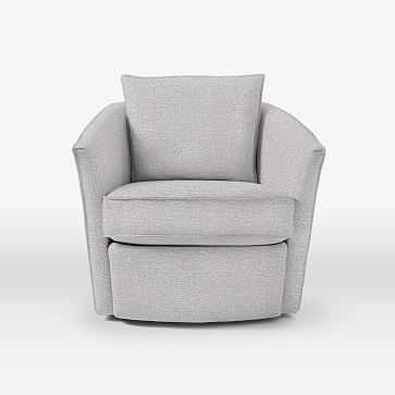 Duffield Swivel Chair, Chenille Tweed, Frost Gray - West Elm
